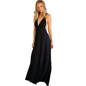 Convertible multi way wrap formal gown black